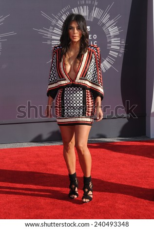 LOS ANGELES - AUG 24:  Kim Kardashian arrives to the 2014 Mtv Vidoe Music Awards on August 24, 2014 in Los Angeles, CA                 - stock photo