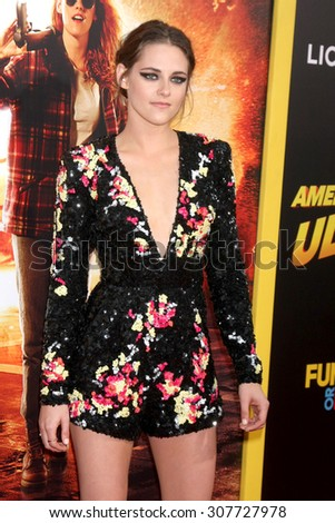 "LOS ANGELES - AUG 18:  Kristen Stewart at the ""American Ultra"" Premiere at the Theater at Ace Hotel on August 18, 2015 in Los Angeles, CA - stock photo"