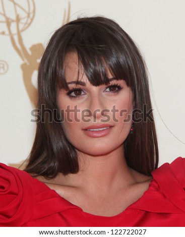 LOS ANGELES - AUG 11:  LEA MICHELE arriving to Emmy Awards 2011  on August 11, 2012 in Los Angeles, CA