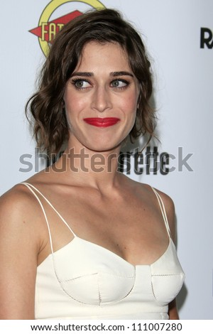 "LOS ANGELES - AUG 23:  Lizzy Caplan arrives at the ""Bachelorette"" Premiere at ArcLight Cinema Theaters on August 23, 2012 in Los Angeles, CA - stock photo"