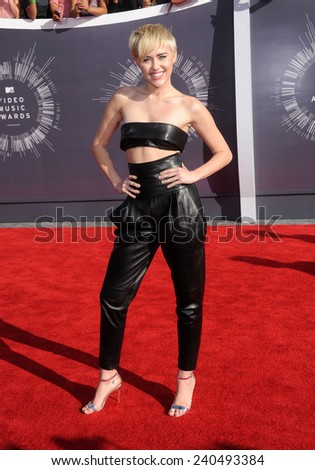 LOS ANGELES - AUG 24:  Miley Cyrus arrives to the 2014 Mtv Vidoe Music Awards on August 24, 2014 in Los Angeles, CA                 - stock photo