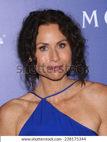 LOS ANGELES - AUG 14:  Minnie Driver arrives to the HFPA Annual Installation Dinner 2014 on August 14, 2014 in Beverly Hills, CA                 - stock photo