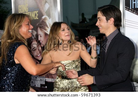 "LOS ANGELES - AUG 23:  Nancy Juvonen, Drew Barrymore, & Justin Long arrives at the ""Going the Distance"" Los Angeles Premiere at Grauman's Chinese Theater on August 23, 2010 in Los Angeles, CA"