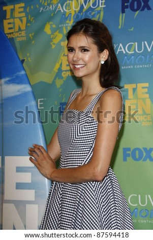 LOS ANGELES - AUG 7: Nina Dobrev at the 2011 Teen Choice Awards held at Gibson Amphitheatre on August 7, 2011 in Los Angeles, California