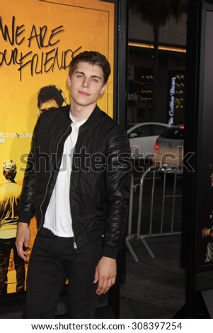 "LOS ANGELES - AUG 20:  Nolan Funk at the ""We are Your Friends"" Los Angeles Premiere at the TCL Chinese Theater on August 20, 2015 in Los Angeles, CA - stock photo"