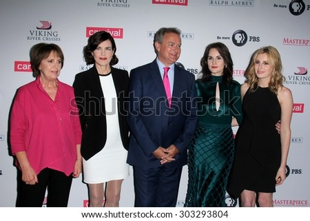 "LOS ANGELES - AUG 1:  P Wilton, E  McGovern, Hugh Bonneville, M Dockery, L Carmichael, J Froggatt at the ""Downton Abbey"" Photo Call at the Beverly Hilton Hotel on August 1, 2015 in Beverly Hills, CA"