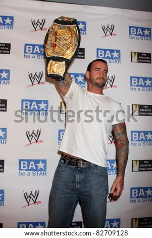 "LOS ANGELES - AUG 11:  phillip jack brooks aka cm punk""  arriving at the ""be A STAR"" Summer Event  at Andaz Hotel on August 11, 2011 in Los Angeles, CA - stock photo"