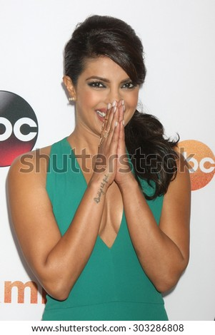 LOS ANGELES - AUG 4:  Priyanka Chopra at the ABC TCA Summer Press Tour 2015 Party at the Beverly Hilton Hotel on August 4, 2015 in Beverly Hills, CA - stock photo