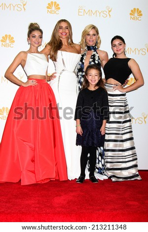 LOS ANGELES - AUG 25: Sarah Hyland, Sofia Vergara, Aubrey Anderson Emmons, Julie Bowen, Ariel Winter at the 2014 Primetime Emmy Awards at Nokia Theater at LA Live on August 25, 2014 in Los Angeles, CA - stock photo