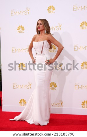 LOS ANGELES - AUG 25:  Sophia Vergara at the 2014 Primetime Emmy Awards - Arrivals at Nokia Theater at LA Live on August 25, 2014 in Los Angeles, CA - stock photo