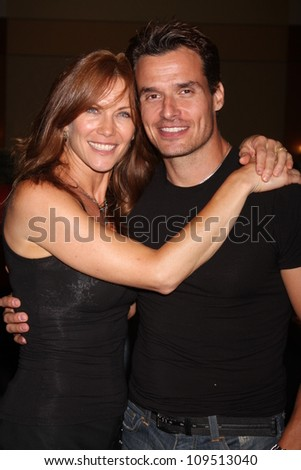 """LOS ANGELES - AUG 4:  Stacy Haiduk, Antonio Sabato Jr. appearing at the """"Hollywood Show"""" at Burbank Marriott Convention Center on August 4, 2012 in Burbank, CA - stock photo"""