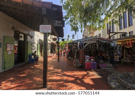 Los Angeles, AUG 23: The famous Olvera Street on AUG 23, 2014 at Los Angeles