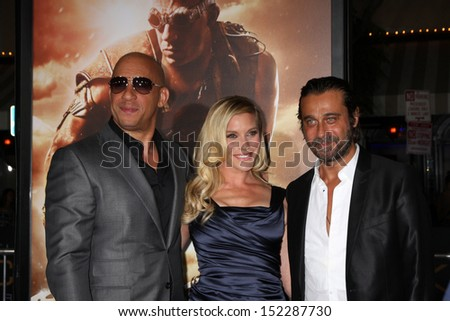 "LOS ANGELES - AUG 28:  Vin Diesel, Katee Sackhoff, Jordi Molla at the ""Riddick"" Premiere at the Village Theater on August 28, 2013 in Westwood, CA"