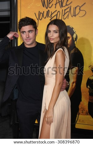 "LOS ANGELES - AUG 20:  Zac Efron, Emily Ratajkowski at the ""We are Your Friends"" Los Angeles Premiere at the TCL Chinese Theater on August 20, 2015 in Los Angeles, CA - stock photo"