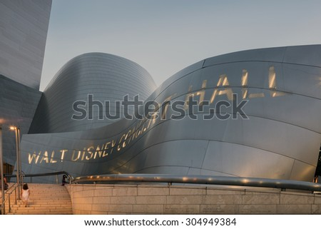 LOS ANGELES - AUGUST 9: Entrance with Staircase of Walt Disney Concert Hall, CA August 9, 2015. The hall was designed by Frank Gehry and is a major component in the Los Angeles Music Center complex. - stock photo