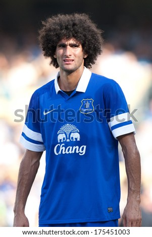 LOS ANGELES - AUGUST 3: Everton M Marouane Fellaini during the 2013 Guinness International Champions Cup game between Everton and Real Madrid on Aug 3, 2013 at Dodger Stadium.