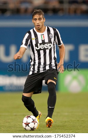LOS ANGELES - AUGUST 3: Juventus D Martin Caceres during the 2013 Guinness International Champions Cup game between Juventus and the Los Angeles Galaxy on Aug 3, 2013 at Dodger Stadium. - stock photo