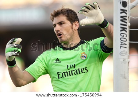 LOS ANGELES - AUGUST 3: Real Madrid GK Iker Casillas during the 2013 Guinness International Champions Cup game between Everton and Real Madrid on Aug 3, 2013 at Dodger Stadium. - stock photo