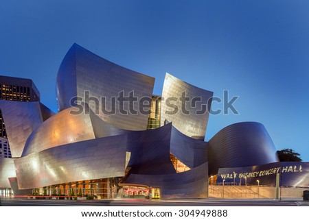 LOS ANGELES - AUGUST 9: Walt Disney Concert Hall at night, LA, CA August 9, 2015. The hall was designed by Frank Gehry and is a major component in the Los Angeles Music Center complex. - stock photo