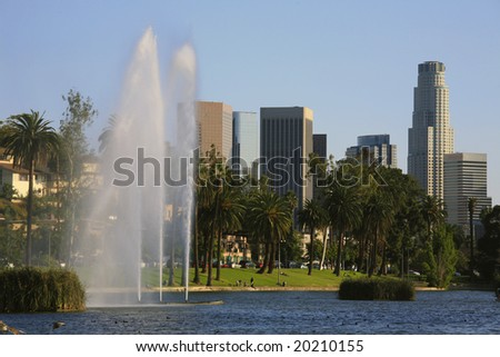 Los Angeles by the lake - stock photo