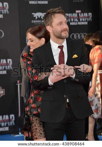 "LOS ANGELES, CA. April 12, 2016: Actor Chris Hardwick & actress fiancee Lydia Hearst at the world premiere of ""Captain America: Civil War"" at the Dolby Theatre, Hollywood.  - stock photo"