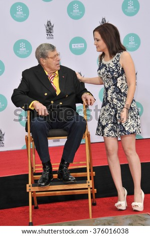 LOS ANGELES, CA - APRIL 12, 2014: Actor Jerry Lewis & daughter Danielle Sarah Lewis at the TCL Chinese Theatre, Hollywood, where Lewis has his hand & footprints set in cement.