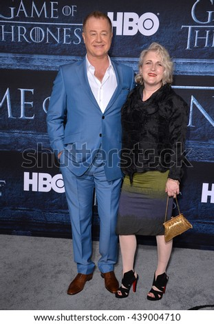 LOS ANGELES, CA. April 10, 2016: Actor Owen Teale & actress wife Sylvestra Le Touzel at the season 6 premiere of Game of Thrones at the TCL Chinese Theatre, Hollywood.
