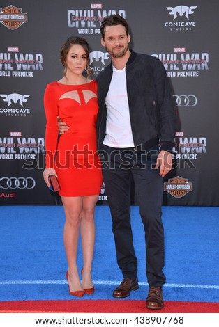 "LOS ANGELES, CA. April 12, 2016: Actress Chloe Bennet & actor boyfriend Austin Nichols at the world premiere of ""Captain America: Civil War"" at the Dolby Theatre, Hollywood.