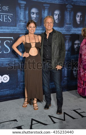 LOS ANGELES, CA. April 10, 2016: Actress Suzanne Cryer & actor Patrick Fabian at the season 6 premiere of Game of Thrones at the TCL Chinese Theatre, Hollywood.