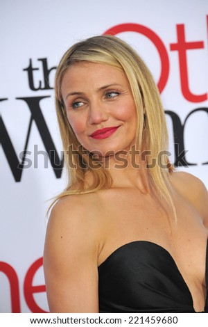"LOS ANGELES, CA - APRIL 21, 2014: Cameron Diaz at the Los Angeles premiere of her movie ""The Other Woman"" at the Regency Village Theatre, Westwood.  - stock photo"