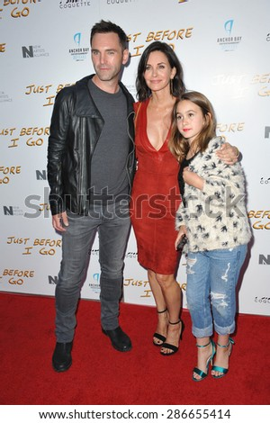 """LOS ANGELES, CA - APRIL 20, 2015: Courteney Cox & Johnny McDaid & her daughter Coco Arquette at the premiere of her movie """"Just Before I Go"""" at the Arclight Theatre, Hollywood.  - stock photo"""