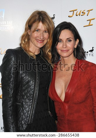 "LOS ANGELES, CA - APRIL 20, 2015: Courteney Cox & Laura Dern (left) at the premiere of Cox's movie ""Just Before I Go"" at the Arclight Theatre, Hollywood."