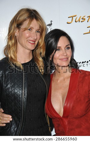 """LOS ANGELES, CA - APRIL 20, 2015: Courteney Cox & Laura Dern (left) at the premiere of Cox's movie """"Just Before I Go"""" at the Arclight Theatre, Hollywood.  - stock photo"""
