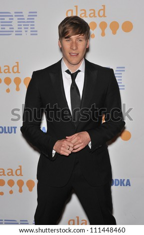 LOS ANGELES, CA - APRIL 18, 2009: Dustin Lance Black at the 20th Annual GLAAD Media Awards at the Nokia Theatre L.A. Live. - stock photo