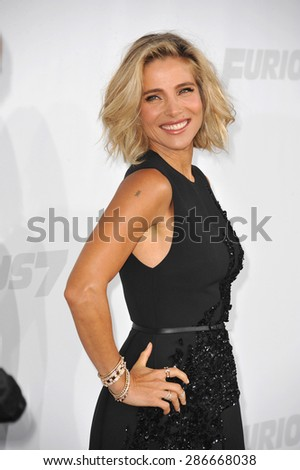 "LOS ANGELES, CA - APRIL 1, 2015: Elsa Pataky at the world premiere of her movie ""Furious 7"" at the TCL Chinese Theatre, Hollywood."