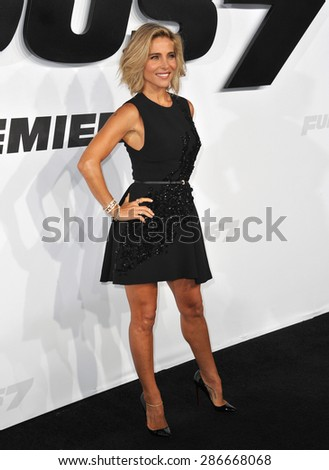 """LOS ANGELES, CA - APRIL 1, 2015: Elsa Pataky at the world premiere of her movie """"Furious 7"""" at the TCL Chinese Theatre, Hollywood.  - stock photo"""