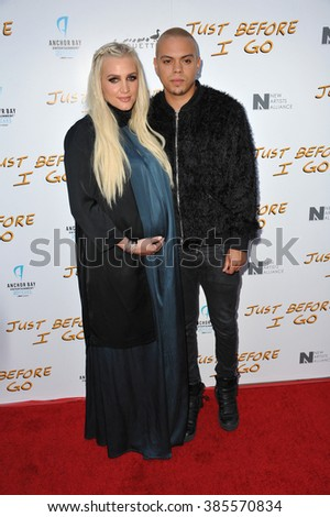 """LOS ANGELES, CA - APRIL 20, 2015: Evan Ross, son of Diana Ross, & wife Ashlee Simpson at the premiere of his movie """"Just Before I Go"""" at the Arclight Theatre, Hollywood. - stock photo"""