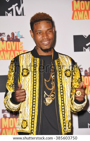 LOS ANGELES, CA - APRIL 12, 2015: Fetty Wap at the 2015 MTV Movie Awards at the Nokia Theatre LA Live. - stock photo