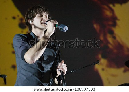 LOS ANGELES, CA - APRIL 19: Gotye performs at the Nokia Theatre on April 19, 2012 in Los Angeles, California. - stock photo