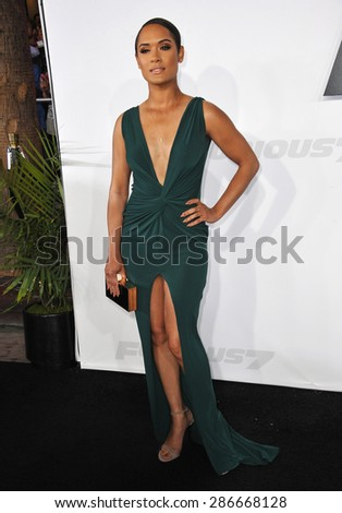 "LOS ANGELES, CA - APRIL 1, 2015: Grace Gealey at the world premiere of ""Furious 7"" at the TCL Chinese Theatre, Hollywood.  - stock photo"