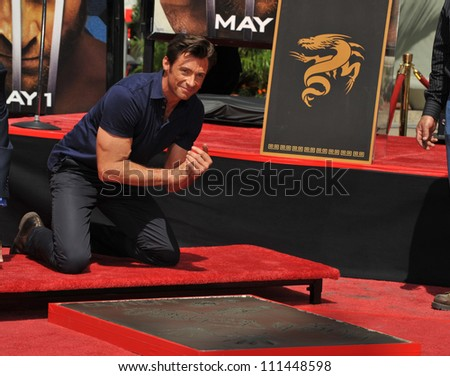 LOS ANGELES, CA - APRIL 21, 2009: Hugh Jackman at hand & footprint ceremony at Grauman's Chinese Theatre, Hollywood. - stock photo
