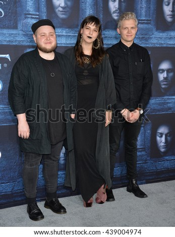 LOS ANGELES, CA. April 10, 2016: Icelandic folk-pop band Of Monsters and Men - Ragner Porhallsson & Nanna Brynd�­s Hilmarsdottir & Brynjar Leiffson at the season 6 premiere of Game of Thrones.