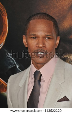 LOS ANGELES, CA - APRIL 20, 2009: Jamie Foxx at the Los Angeles premiere of his new movie The Soloist at Paramount Theatre, Hollywood. - stock photo