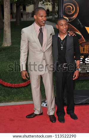 LOS ANGELES, CA - APRIL 20, 2009: Jamie Foxx (left) & Justin Martin at the Los Angeles premiere of their new movie The Soloist at Paramount Theatre, Hollywood. - stock photo