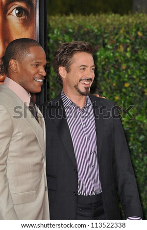 LOS ANGELES, CA - APRIL 20, 2009: Jamie Foxx & Robert Downey Jr at the Los Angeles premiere of their new movie The Soloist at Paramount Theatre, Hollywood.