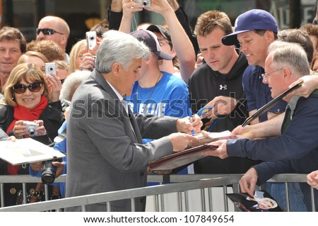 LOS ANGELES, CA - APRIL 12, 2010: Jay Leno on Hollywood Boulevard where actor Russell Crowe was honored with the 2,404th star on the Hollywood Walk of Fame. - stock photo