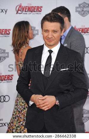"LOS ANGELES, CA - APRIL 13, 2015: Jeremy Renner at the world premiere of his movie ""Avengers: Age of Ultron"" at the Dolby Theatre, Hollywood.  - stock photo"