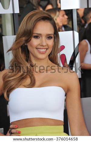 LOS ANGELES, CA - APRIL 13, 2014: Jessica Alba at the 2014 MTV Movie Awards at the Nokia Theatre LA Live. - stock photo