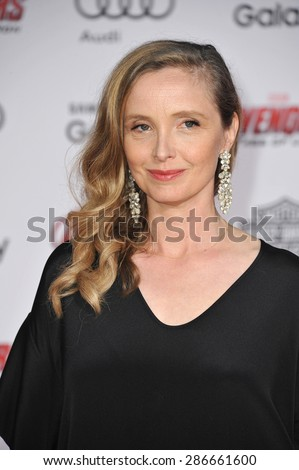 """LOS ANGELES, CA - APRIL 13, 2015: Julie Delpy at the world premiere of """"Avengers: Age of Ultron"""" at the Dolby Theatre, Hollywood.  - stock photo"""