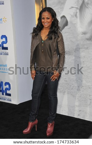 "LOS ANGELES, CA - APRIL 9, 2013: Laila Ali, daughter of Muhammad Ali, at the Los Angeles premiere of ""42: The True Story of An American Legend"" at the Chinese Theatre, Hollywood.  - stock photo"